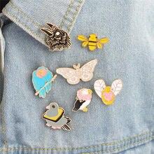 Dessin animé métal aigle papillon abeille Animal Badge Corsage T-shirt col épingles