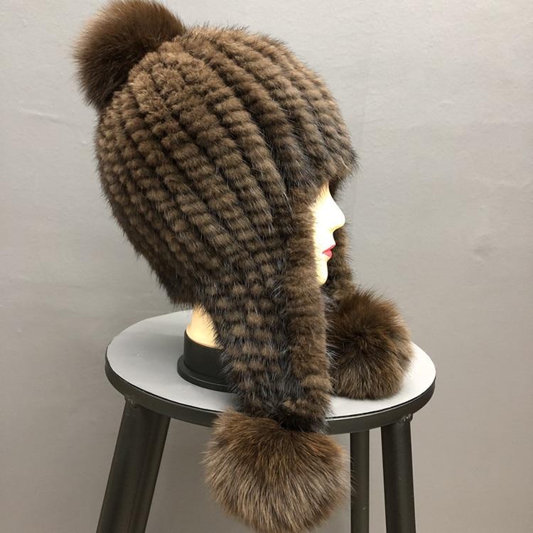 New Women Real Mink Fur Ushanka Cap Luxury Knitting Fox Hair Ball Bonnet Fluffy Hat Winter Warm Ear Protection Beanie Frog Hats