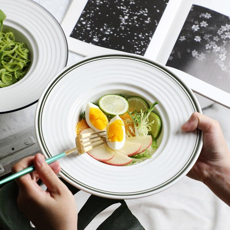 التصميم الأصلي الإبداعية القش قبعة لوحة المعكرونة لوحة وعاء الحساء صحن سلطة الفواكه الغربية الغذاء القرص إناء عميق الشمال