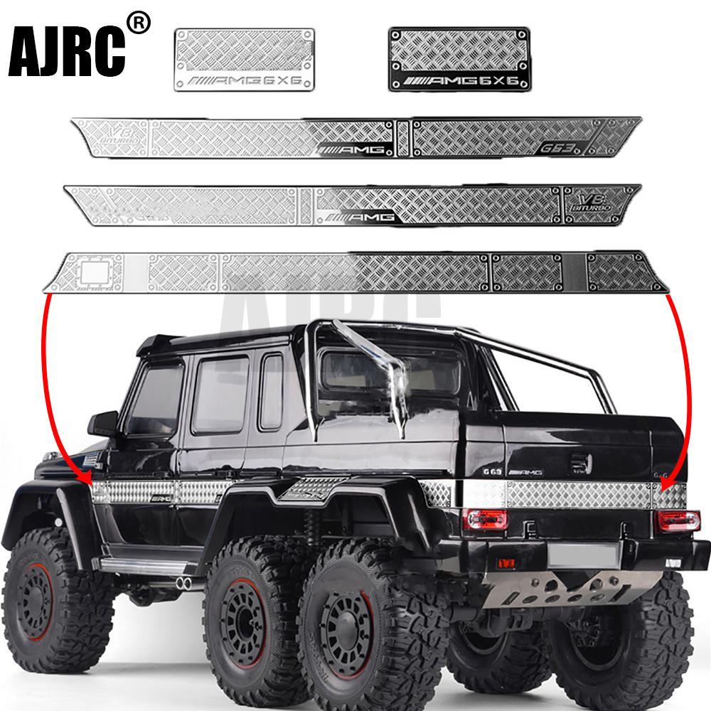 Chapa decorativa de aço inoxidável anti-skid placa para 1/10 traxxas TRX-6 g63 TRX-4 g500 peças do corpo do carro rc