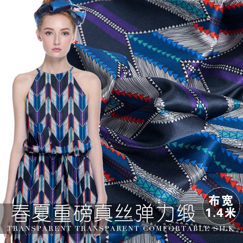 19 otoño nuevo 140cm ancho 20Momme 94% seda 6% spandex Charmeuse tela mujeres vestido geometría impreso Diy costura envío gratis