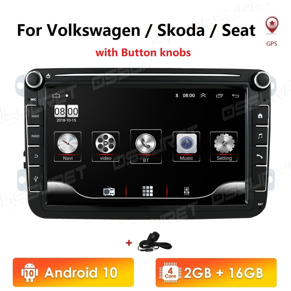 2 din android 10 rádio do carro gps multimídia para volkswagen skoda octavia golf 5 6 touran passat b6 polo tiguan jetta yeti