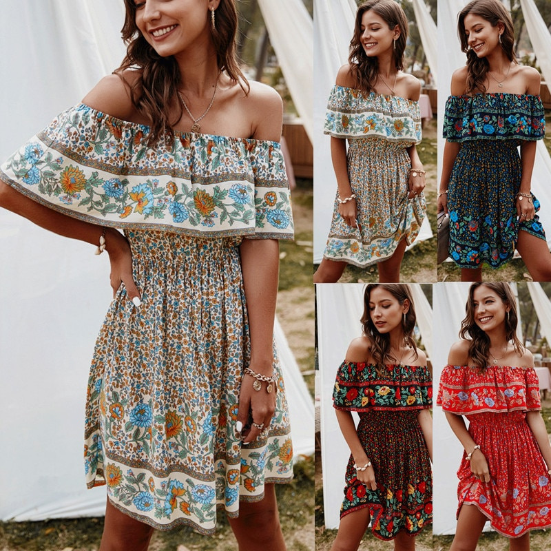 2021 summer one-shoulder print sexy dress fashion women long sleeve  clothes
