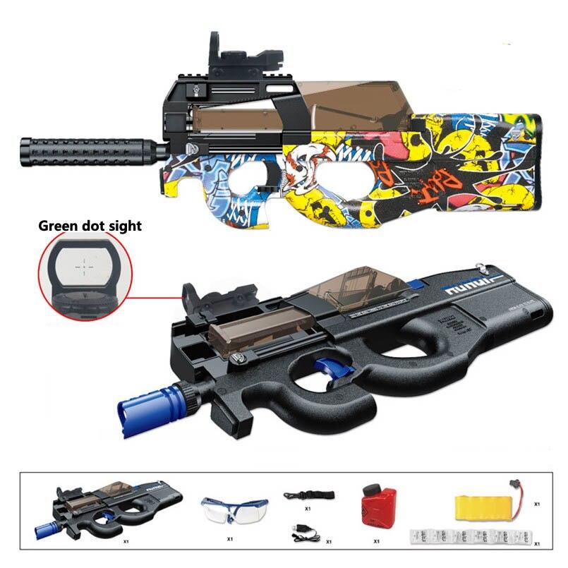 New Electric P90 Toy Gun Graffiti Live CS Assault Battle Snipe Rifle Weapon Outdoor Soft Water Gel Ball Pistol Kids Grandson Toy