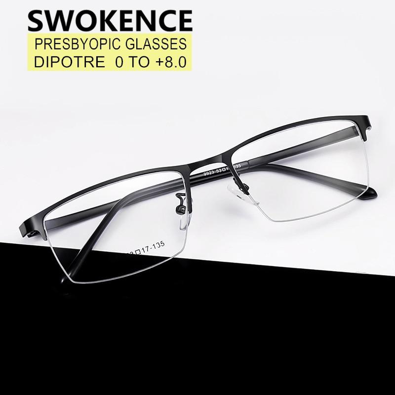 SWOKENCE SPH 0 to +8.0 Prescription Glasses For Presbyopia Men Women Elegant Alloy Half Frame Readin