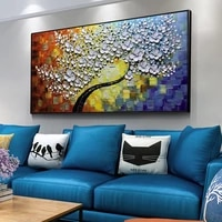 hand painted oil painting 3d flower abstract texture lucky tree modern home wall decorate handmade thick oil painting on canvas