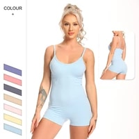 women sexy solid bodysuits seamless slim sleeveless one piece casual skinny outfits yoga set pants sports fitness jumpsuits