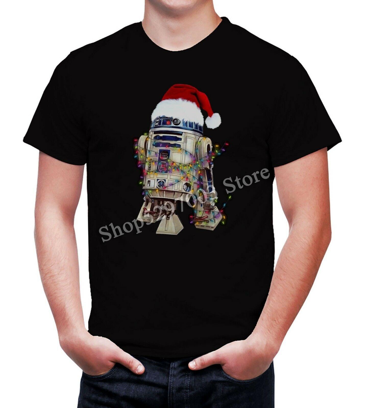 Hombres R2D2 sombrero de Navidad Star Wars gracioso negro pesado camiseta Camiseta extragrande