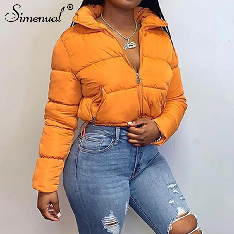 Simenual Warm Autumn Winter 2021 Women Coats Fashion Long Sleeve Zipper Jackets Solid Slim Thick Fem