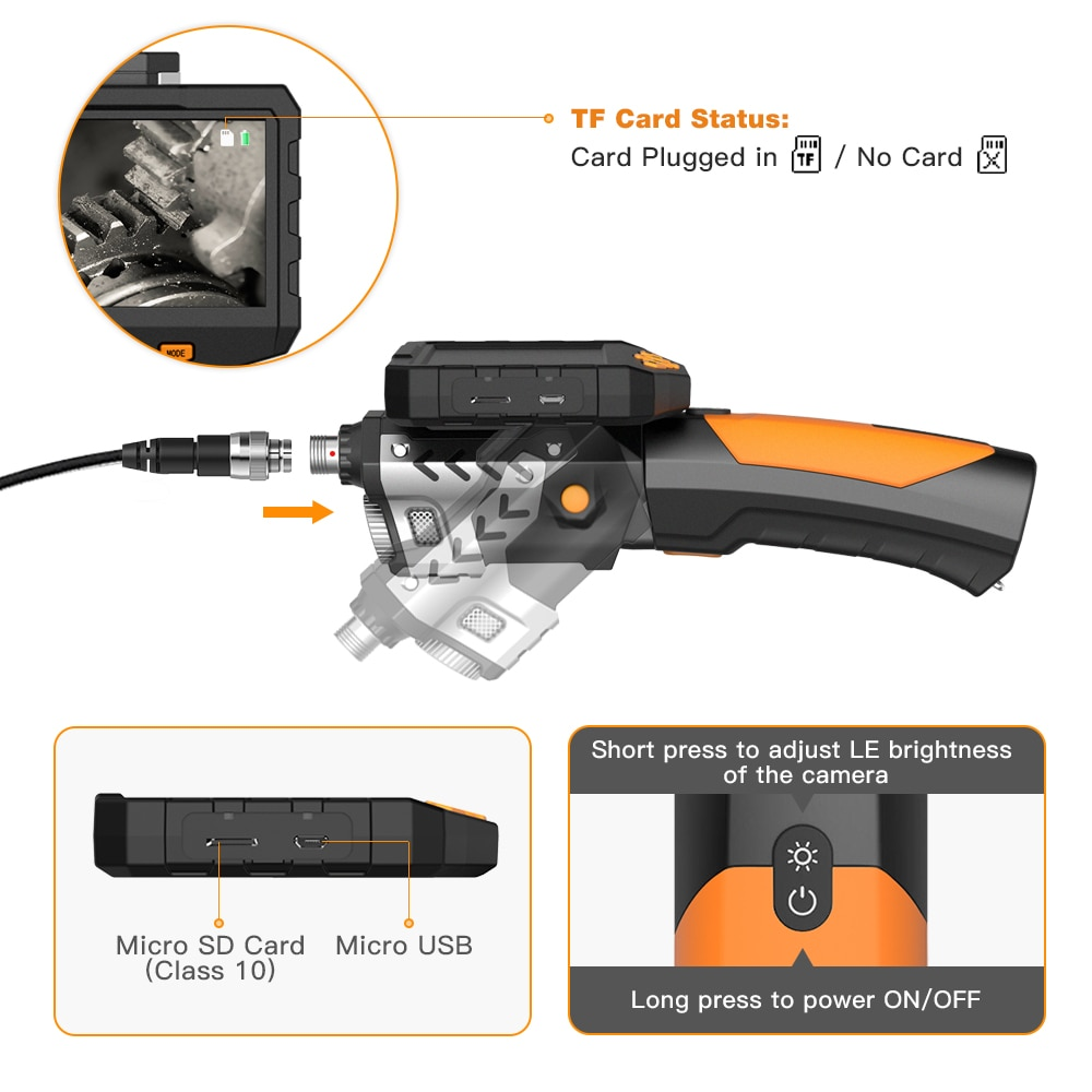 Industrial Endoscope HD Digital inspection Engine Drain Pipe Camera Borescope IP67 Waterproof 4.5 Inch LCD Camera with 32GB Card