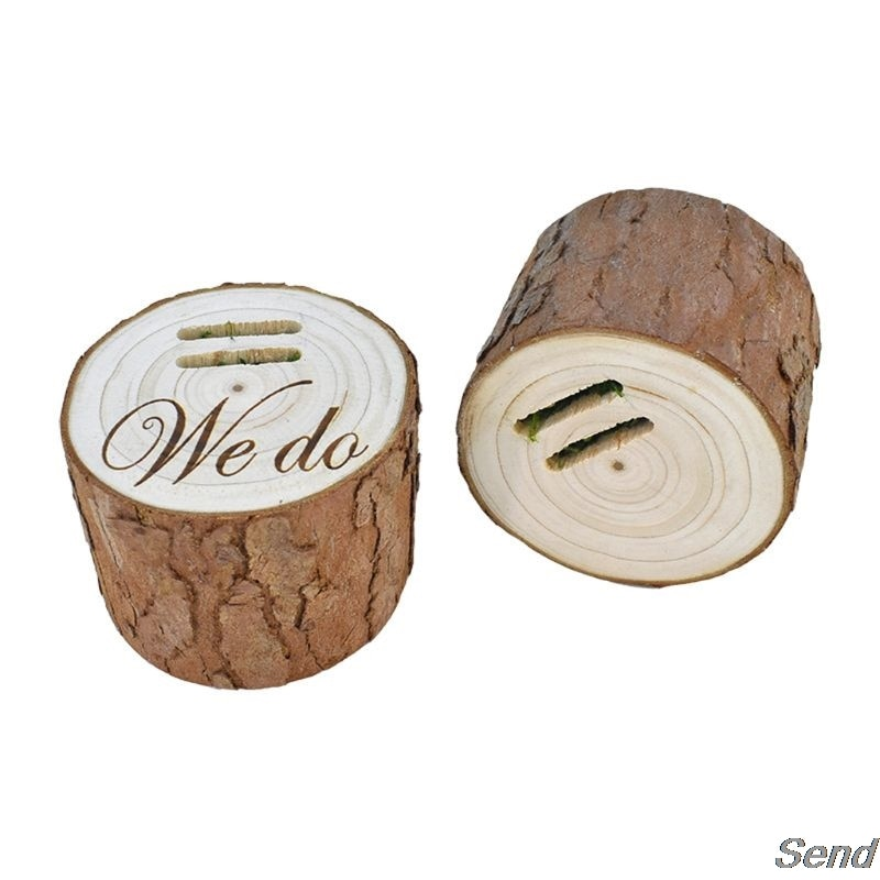 5-7cm DIY Natural Wood Unfinished Blank Vintage Wedding Ring BoxRustic Tray