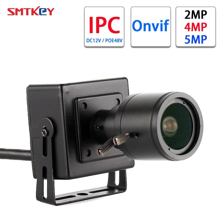 Caméra réseau SMTKEY 1080P H.265 /h.265 + IP Onvif 2MP / 4MP / 5MP en cc 12V ou 48V POE 2.8-12mm Zoom manuel Mini caméra IP