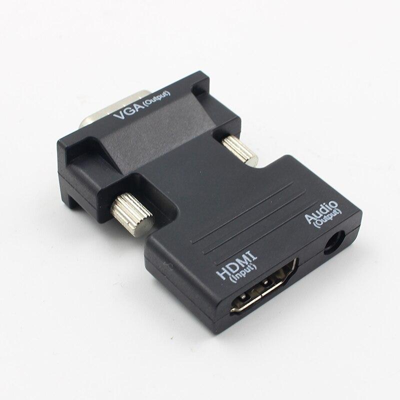 Convertidor hembra a VGA macho compatible con HDMI, Adaptador de Audio compatible...