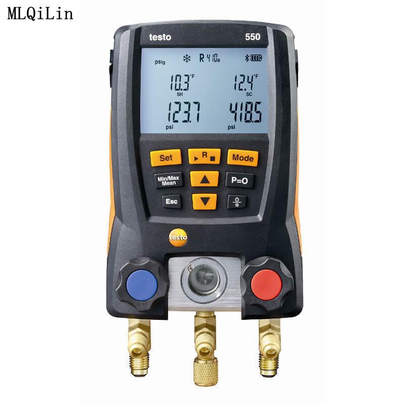 Testo 550 Pressuer مقياس للتبريد نظام الهواء Pressuer اختبار مقاييس مجموعة HVAC المانومتر مع 2 قطعة المشبك تحقيقات 0563 1550