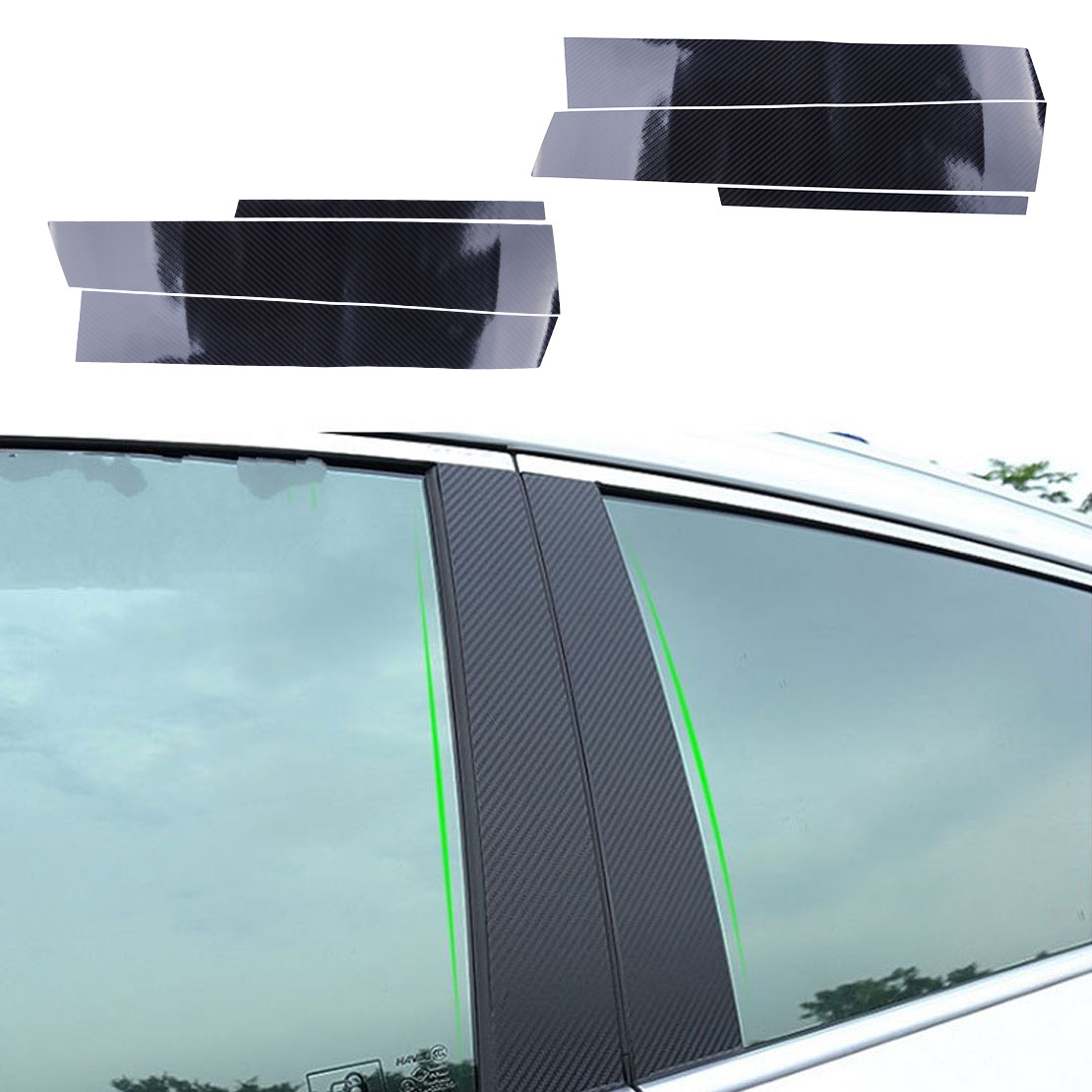 DWCX, 6 uds., pegatina de fibra de carbono negra para puerta de coche, ventana central, poste del pilar B, pegatina de cubierta embellecedora compatible con Honda Civic Sedan 2006-2010 2011