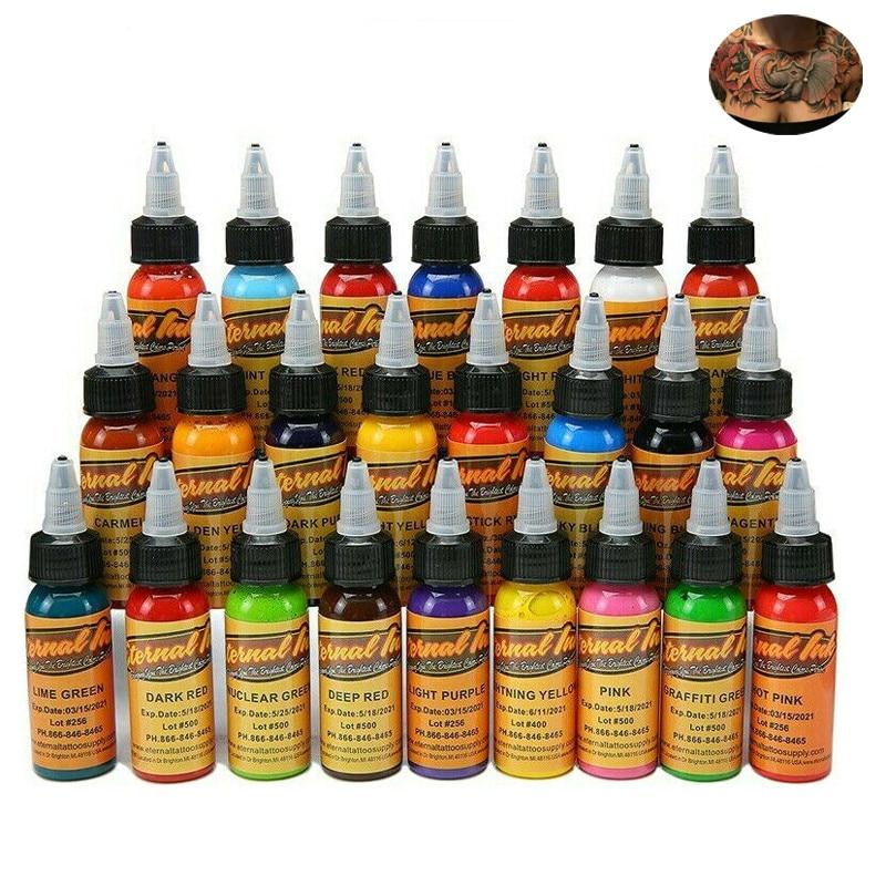New 16pcs Colors Eternal Tattoo Ink Set Pigment Bottle Permanent Makeup Art 30ml /bottle for eyebrow eyeliner lip body makeup