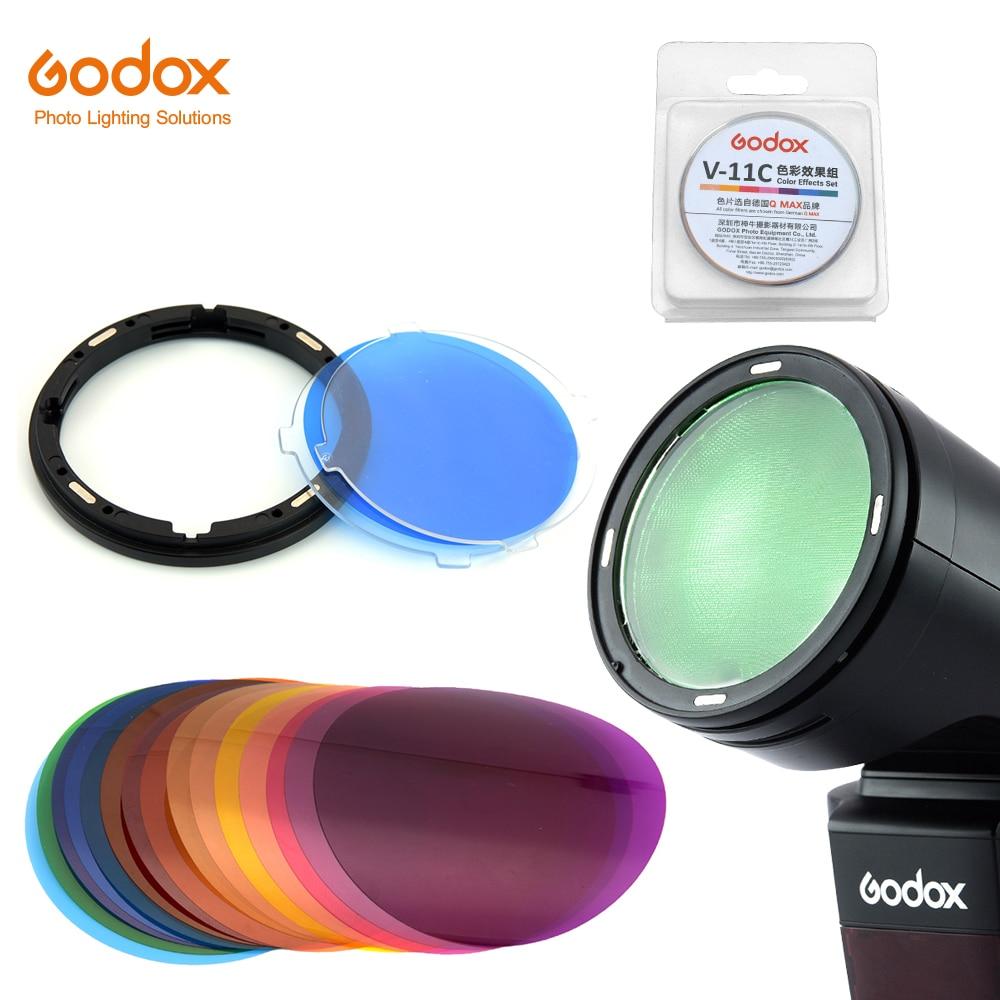 Godox AK-R16 Magnetic Mount Diffuser Plate with V-11C V11C Color Effect Gel Set for Godox V1 Series Flash Light Speedlite
