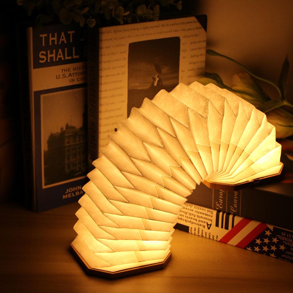 2021 Portable Retro Lamp USB Charging Wooden Led Lamp 360 Degree Folding Organ Lamp for Bedroom Dorm Study  Folding Organ Light