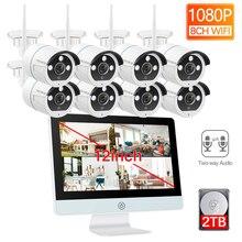 Techege 8CH Drahtlose 1080P CCTV Kit HD 12 zoll LCD NVR Sicherheit 2MP zwei-wege Audio WIFI kamera P2P kamera System Bewegung Rekord