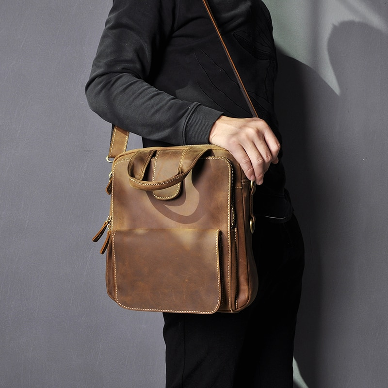 Original Leather Male Design Casual College Shoulder Messenger Crossbody bag Fashion Mochila Satchel