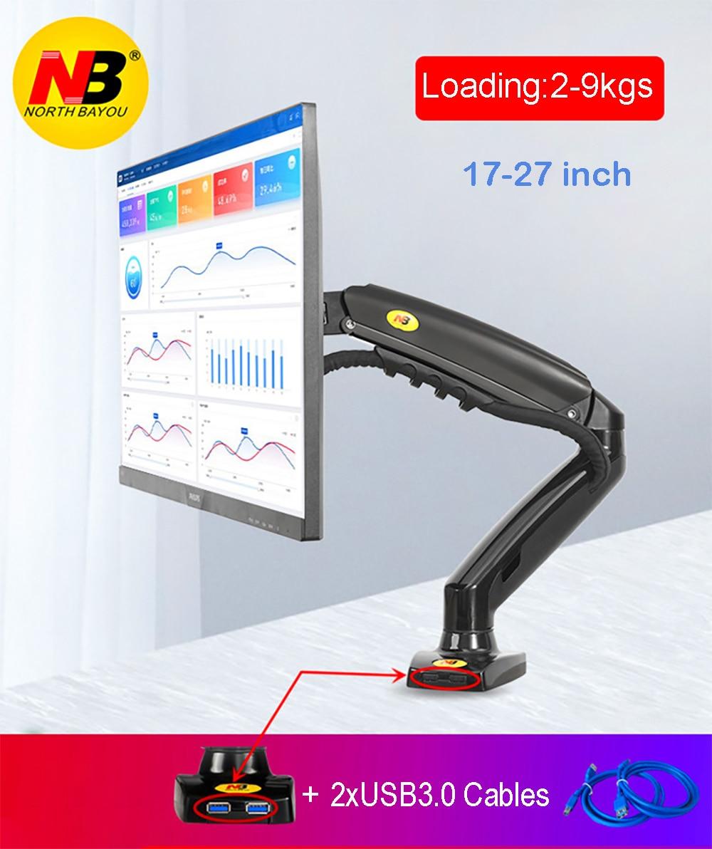 "2019 New NB F80 + 2XUSB3.0 Desktop Gas Spring 17-27"" LCD LED Monitor Holder Mount Arm Full Motion Display Stand Loading 2-9 kgs"