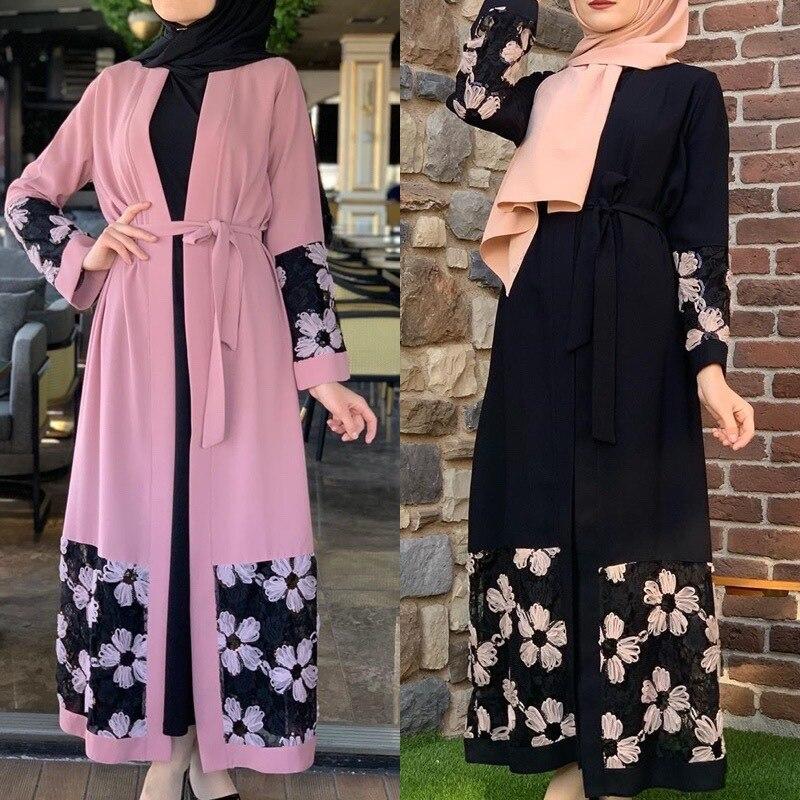 Wepbel Muslim Women Dresses Long Sleeve Patchwork Turkish Robe Floral Printing Dress Plus Size Loose Arab Caftan Kimono