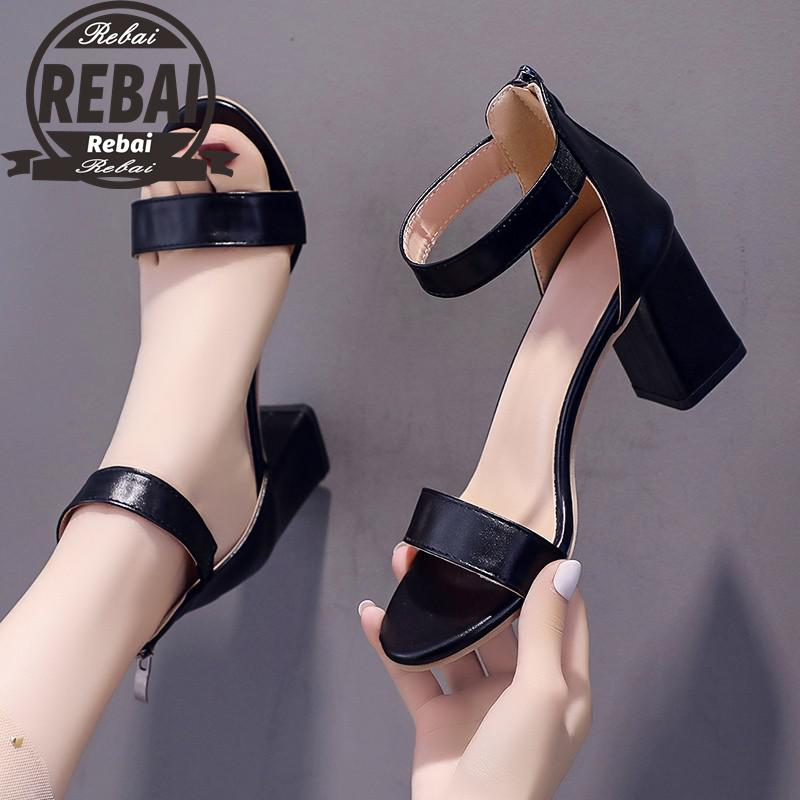 Summer Female Square High Heels Casual Office Sandals For Women Ankle Strap Genuine Leather Woman Ladies Comfortable Shoes 35-43