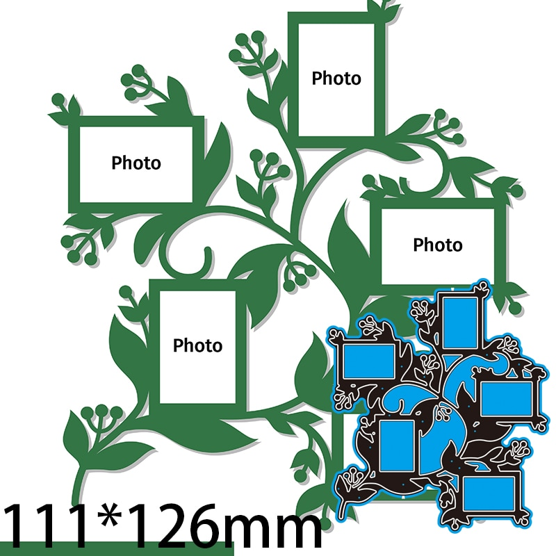 Cutting Dies Template Frame for Family Photos for Lase DIY Scrap Booking Photo Album Embossing Paper Cards 111*126mm