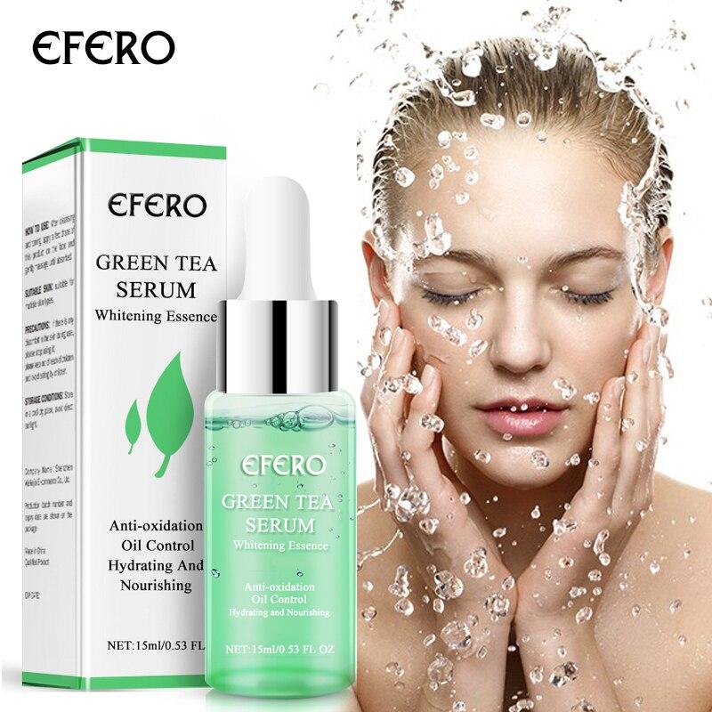 EFERO Green Tea Tree Serum for Face Skin Care Acne Treatment Whitening Shrink Pores Essence Hyaluronic Acid Serum Moisturizer