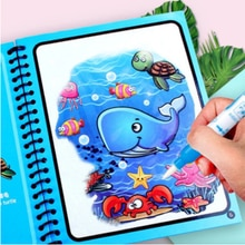 Montessori Toys Reusable Coloring Book Magic Water Drawing Book Sensory Early Education Toys for Kid