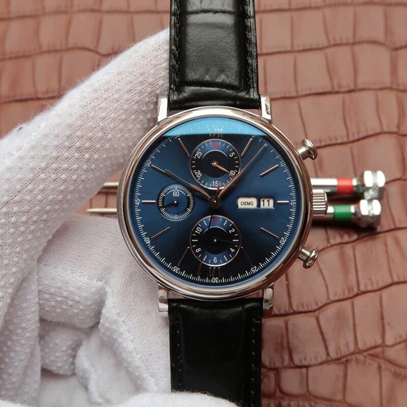 رجل كرونوغراف ساعة معصم مقاوم للماء أسود فائق فاخر ماركة جلد ذكر كوارتز IW 391019 lBlue الهاتفي رائجة البيع عالية الجودة