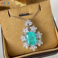 jazaz sparkling zircon flower synthesis paraiba tourmaline pendant necklace for women engagement party fashion jewelry b00120