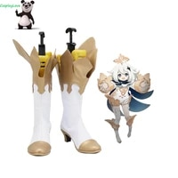 cosplaylove genshin impact paimon white cosplay shoes long boots leather custom hand made for girl boy