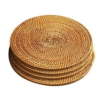 4 pcs rattan weave cup mat placematheat insulation coaster round mat home kitchen table decoration7 8inbrown