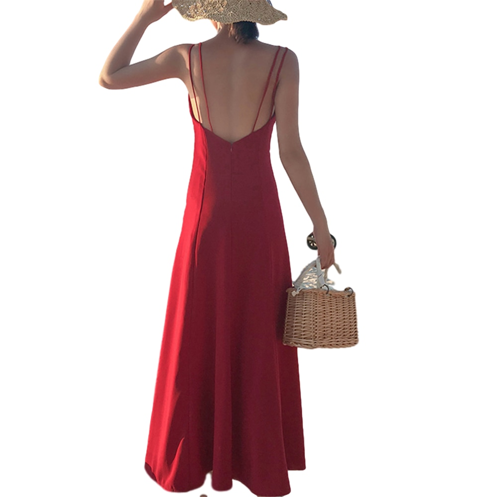 Vestido missdomi verano otoño vestidos coreanos nueva llegada Vacaciones de playa Tailandia rojo espalda descubierta gasa Suspender dressi