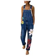 Bib Pants Jumpsuits flower printed blue  jeans Romper for Womens Fashion Denim Bib Pants Sexy Long Rompers Overalls 2019  new