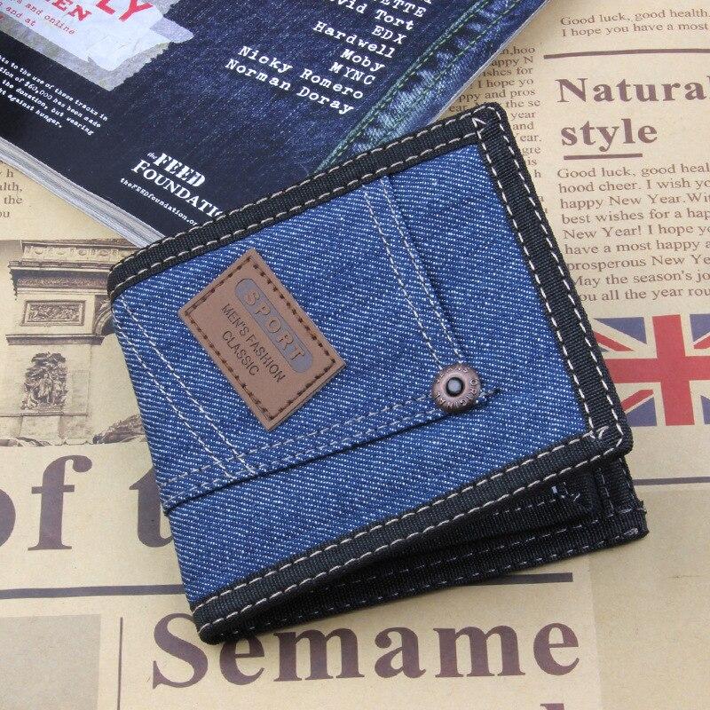 2019 Vintage Denim Blue Jeans Canvas Wallets Women / Men Quality Man Best Gift for Boyfriend Husband Short Zipper Bag Purses