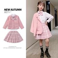 2021 new pink plaid jk suit for girls shirts bow mini skirt jacket sets for teenage girls uniform kids clothes outfits set