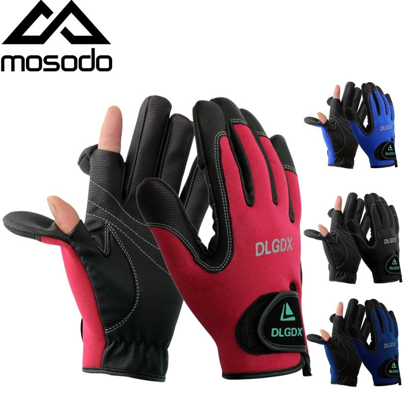 Мужские перчатки без пальцев Mosodo Нескользящие дышащие зимние красные черные