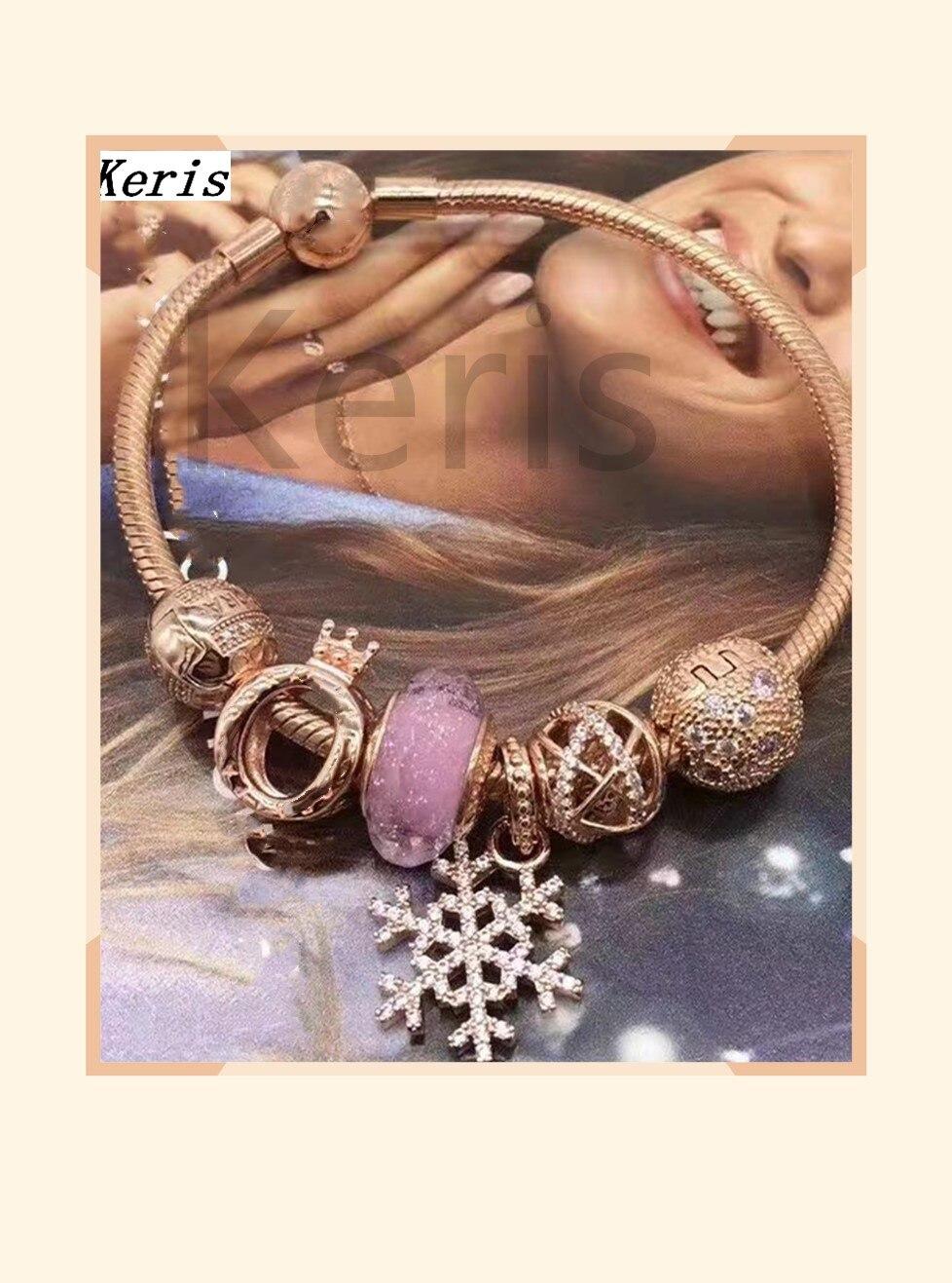 Reprodução de alta qualidade 11 100% prata rosa ouro em pó de vidro coroa cordão grânulos pulseira entrega gratuita