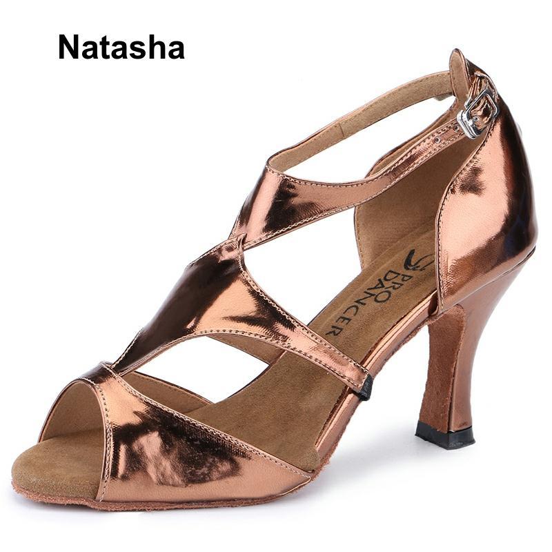 "Zapatos de baile de salón para mujer, zapatos de baile latino, tacón alto de bronce, suela de ante con cordones, 2,75 ""Altura de tacón, Punta abierta"