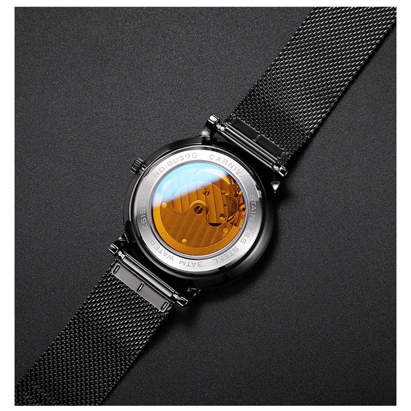 CARNIVAL Fashion Casual Men Mechanical Watch Waterproof Black Stainless Steel Mesh Strap Small Seconds Design Automatic Watches enlarge