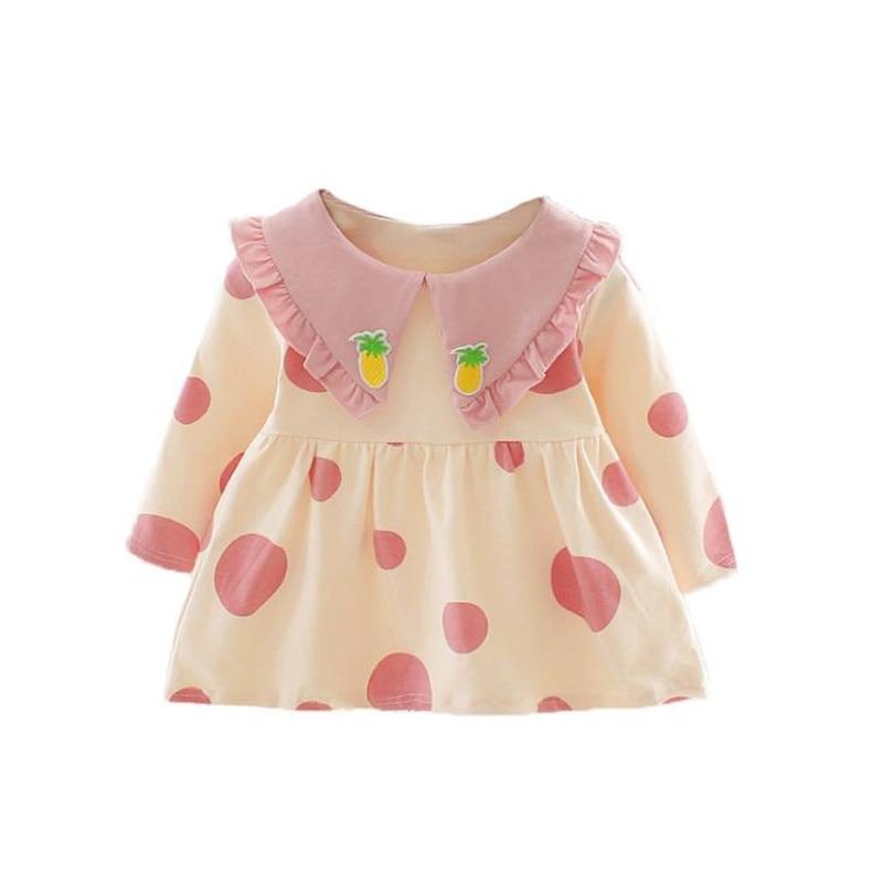 DFXD ropa infantil vestido de bebé niños primavera moda Niño bordado de piña Turn Down Collar Dot trajes vestidos de tutú 6 M-3 T