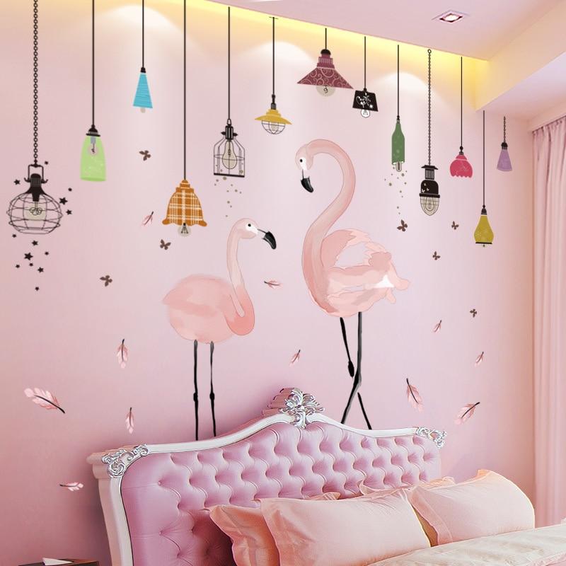 [Shijuekongjian] rose Flamingo animaux Stickers muraux bricolage lustre Stickers muraux pour enfants chambres bébé chambre pépinière décoration