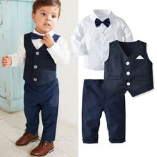 Baby Long Sleeve Long Pants Suit, Round Collar Pocket Three-pieces Set, Shirt Vest Trousers Gentlema