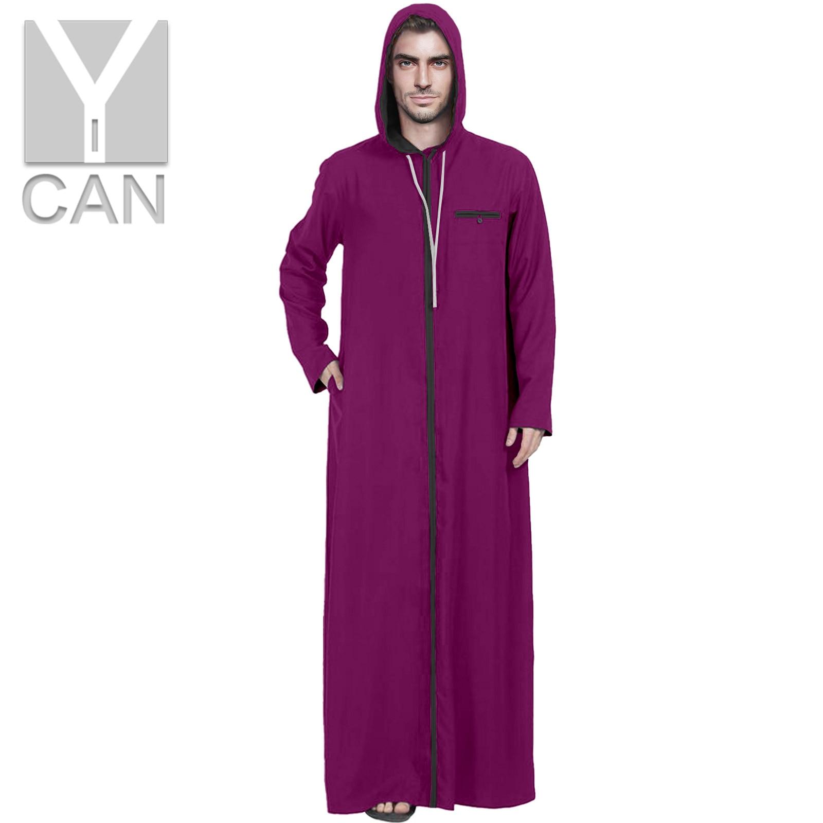 Y-CAN Mens Jubba Thobe Muslim Fashion Long Sleeve Robe Saudi Arab Thobe Jubba Hooded Kaftan Middle East Islamic Clothing Y211001
