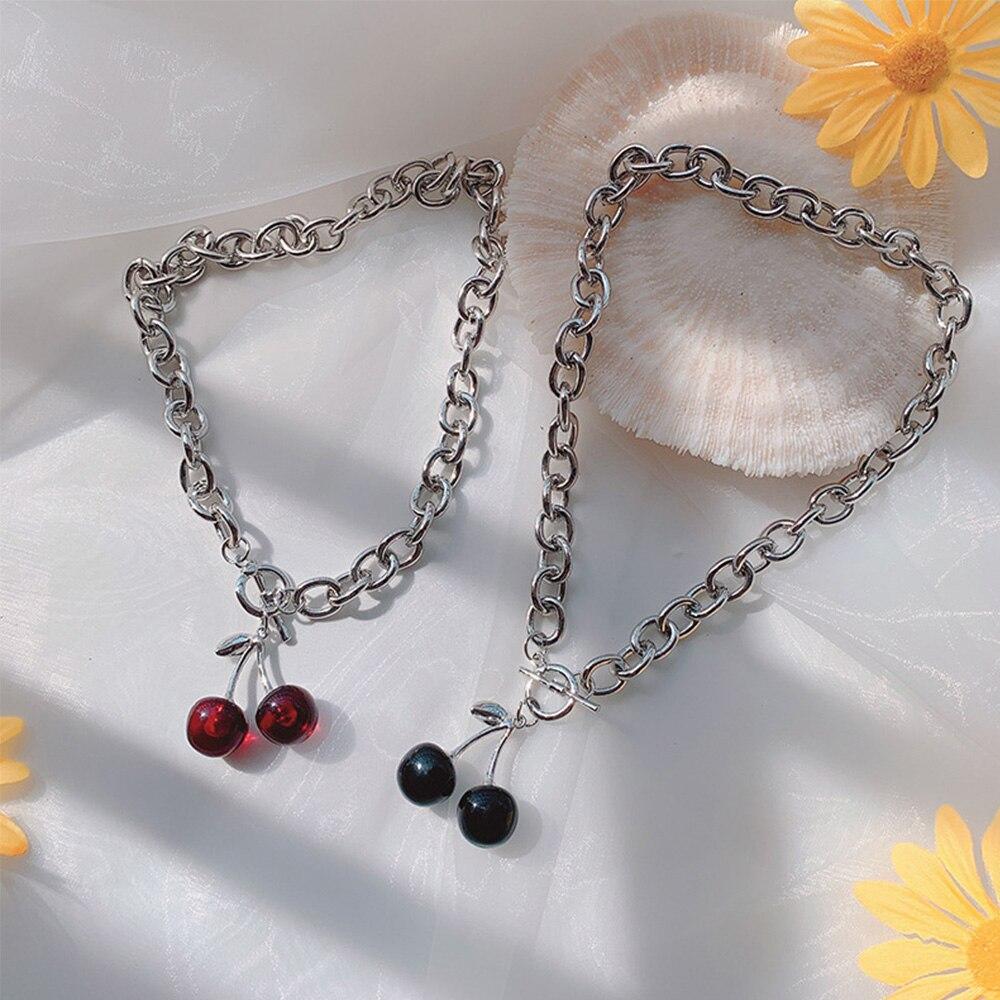 Punk vintage cereja colares gótico prata cor metal gargantilha para mulheres meninas pingente corrente festa jóias presentes
