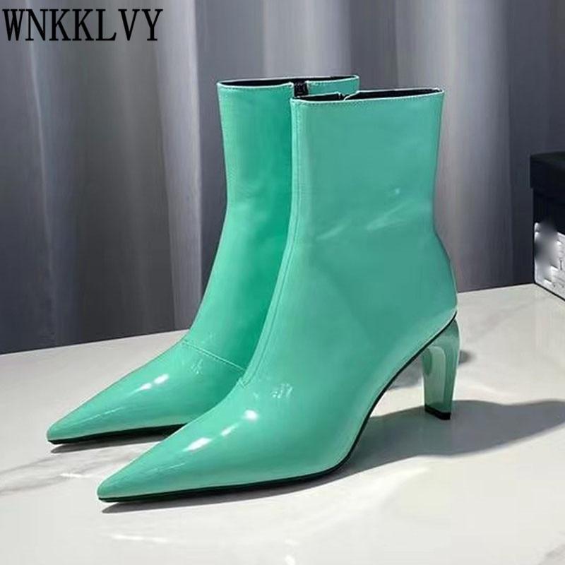 لامعة جلدية غريبة عالية الكعب تشيلسي أحذية النساء مثير أشار تو الخريف الشتاء أحذية بوت قصيرة المدرج الكاحل بوتاس للسيدات