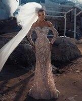 2021 unique mermaid wedding dress with detachable train beading sequins lace long sleeve bridal gowns vestido de novia