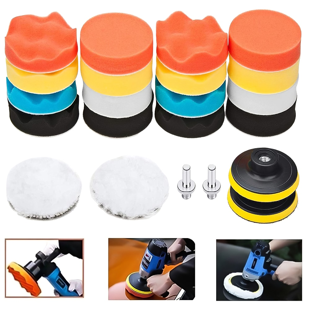 22PCS Car Polishing Disc Set Self-Adhesive Buffing Waxing Sponge Wool Wheel Polishing Pad For Car Polisher Drill Adapter